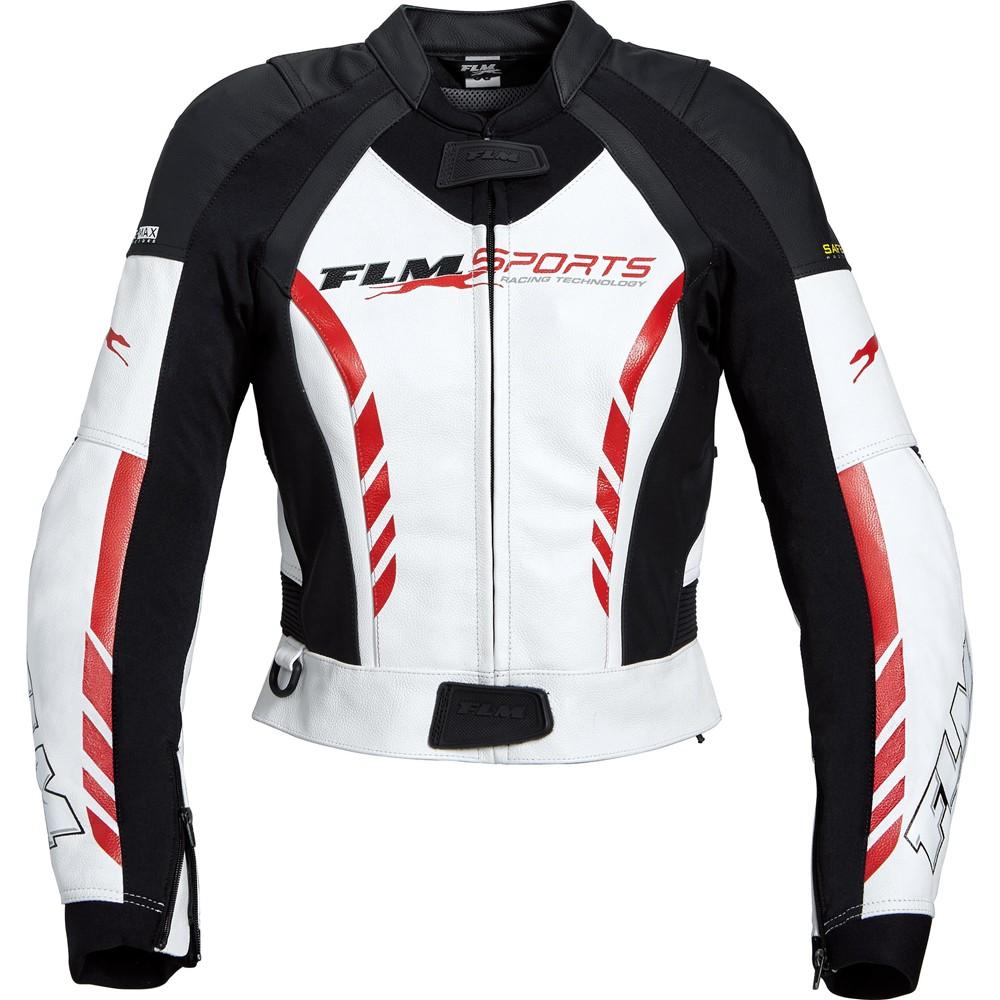350e58a416870 Kurtka motocyklowa skórzana damska FLM Combi Jacket 3.0 Black/White/Red,  Czarna/
